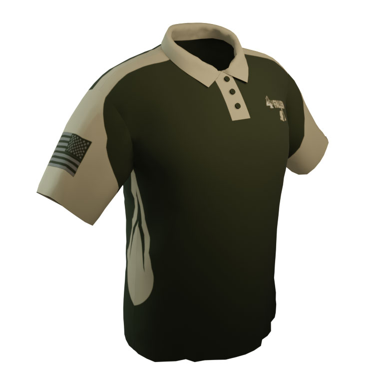 4 The Fallen - Military Green and Tan Short Sleeve Polo