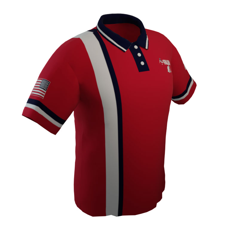 4 The Fallen - Red Short Sleeve Polo With White Stripe