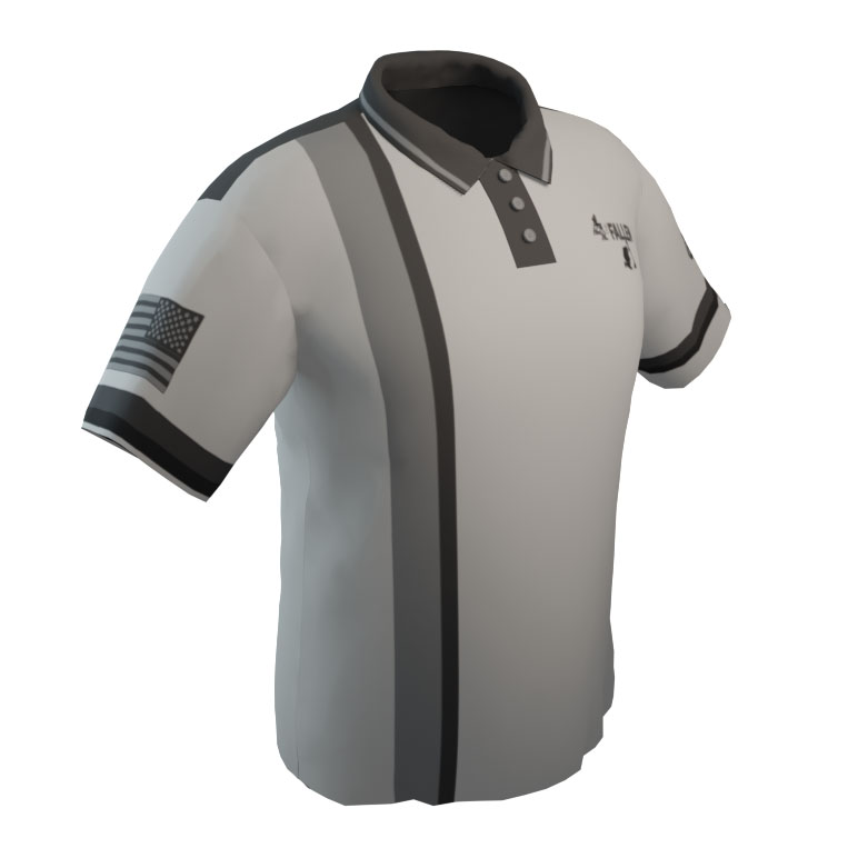 4 The Fallen - White Polo with Gray and Navy Pin Stripe