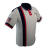 4 The Fallen - White Polo with Red and Navy Pin Stripe