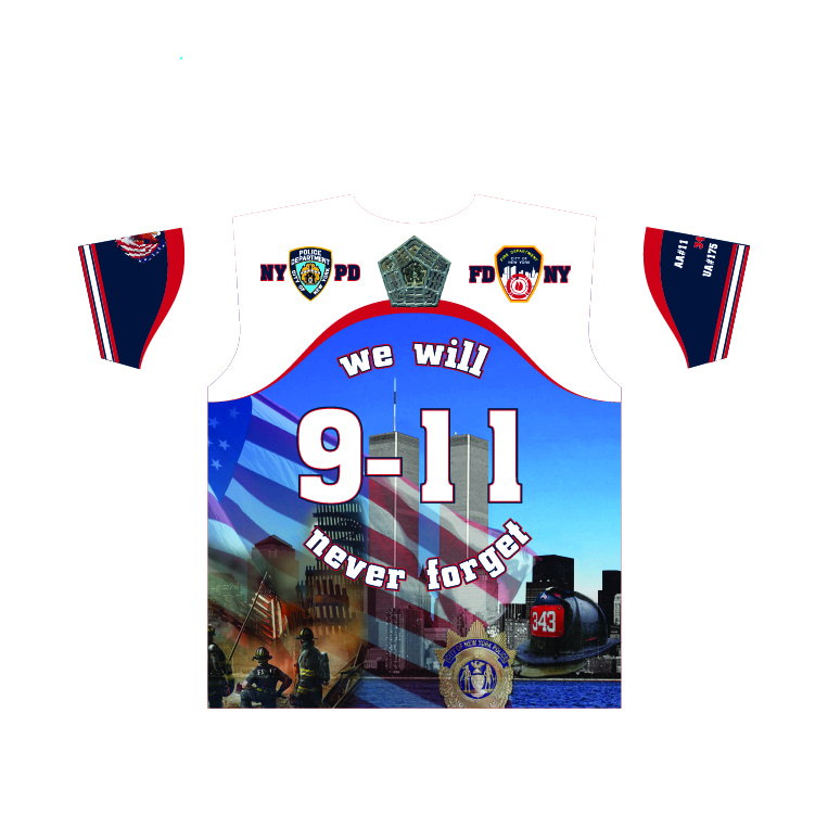 911 Memorial - We will Never Forrget Shirt - Navy Body - White Sleeves - back