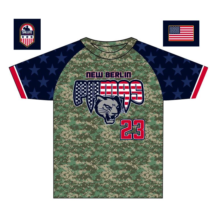 New Berlin Pumas - Custom USA Camo Game Shirt