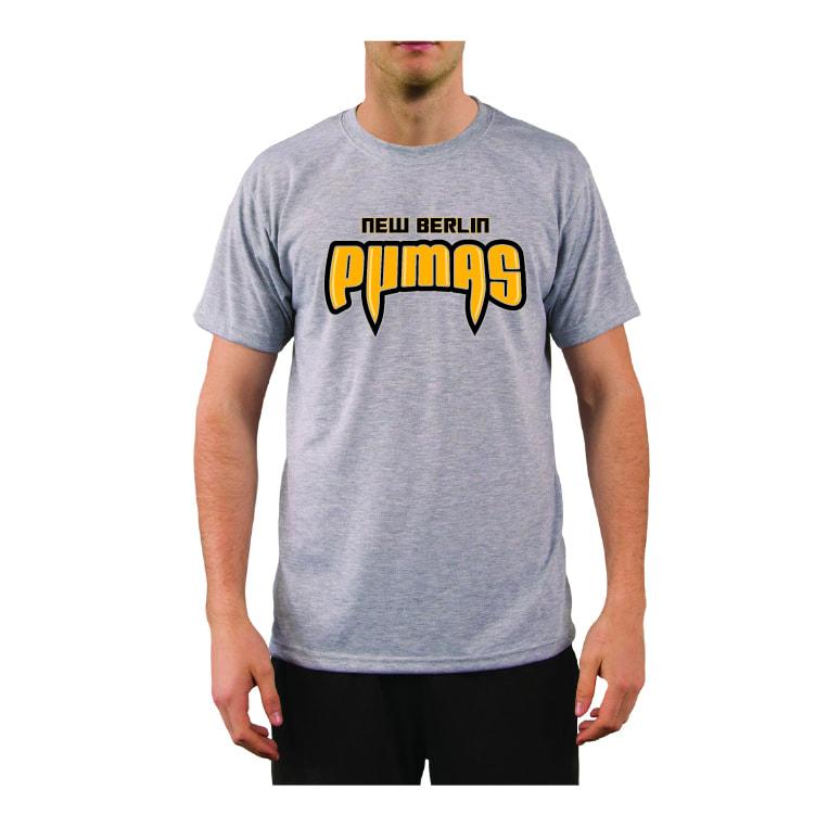 New Berlin Pumas - Gray Tech T-Shirt