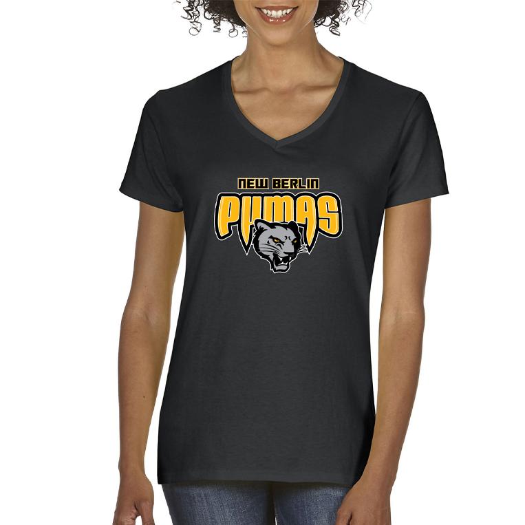 New Berlin Pumas - Womens Short Sleeve Screen Printed T-Shirt - black