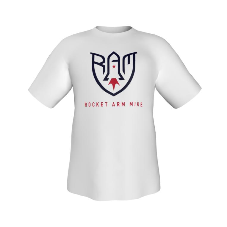 Rocket Arm Mike - White Short Sleeve Performance T-Shirt