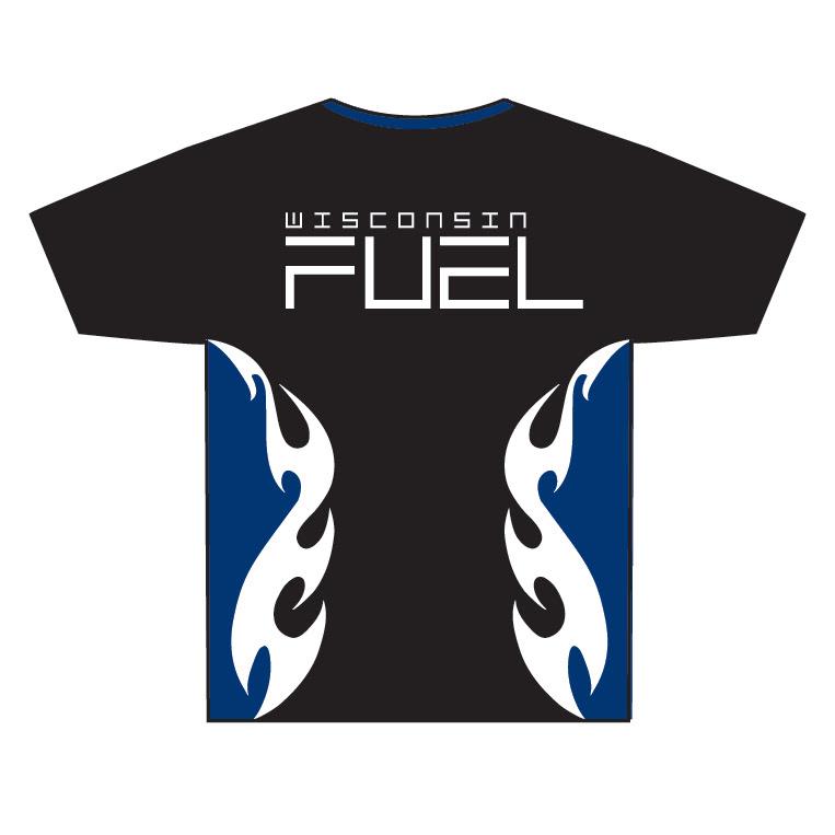 Wisconsin Fuel - Blue Flames Full Dye Game Shirt - back